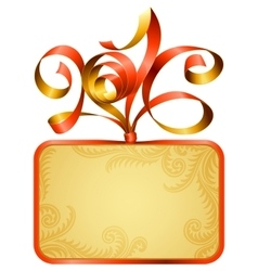 gift box frame and ribbon in the shape of 2016 vector image vector image