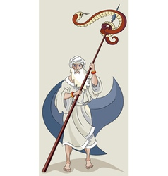 Moses and serpent vector image vector image