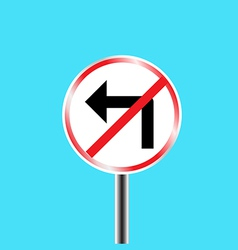 Prohibitory traffic sign left turn prohibited vector image vector image