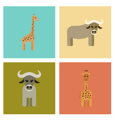 Assembly flat icons nature giraffe bull vector