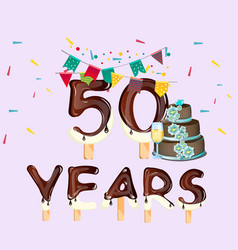 happy birthday fifty 50 year card vector image vector image
