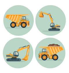 modern dump truck and functional excavator emblems vector image vector image