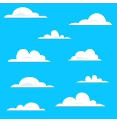 Set of various white cartoon clouds on blue vector image