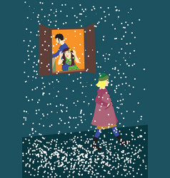 snow some girl on the evening street vector image