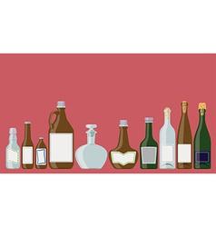 Bottles set alcoholic beverages vector