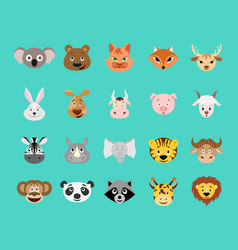 cute cartoon animal head icon set vector image vector image