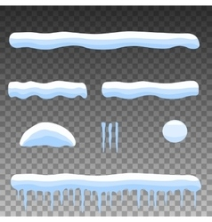 flat set cartoon snow snowdrift icicles vector image vector image