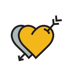 Two heart arrow icon yellow color vector
