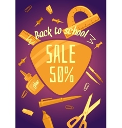 Big sale of stationery for school office and vector image