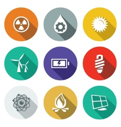 Energy flat icons set vector image vector image