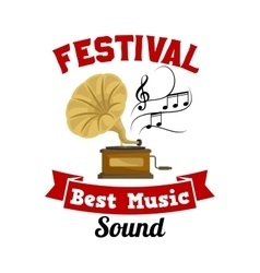 Gramophone Best music sound festival emblem vector image vector image
