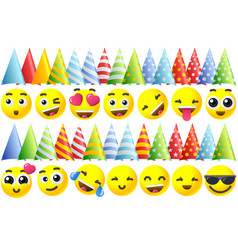 happy birthday emoji icons vector image vector image