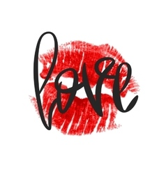 Romantic print with lettering and lipstick imprint vector