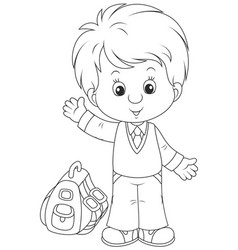 schoolboy with his schoolbag vector image vector image