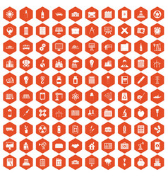 100 company icons hexagon orange vector