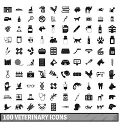 100 veterinary icons set simple style vector