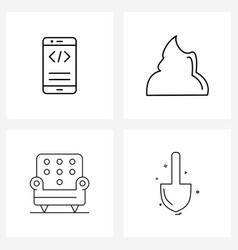 4 editable line icons and modern symbols vector