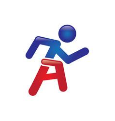 a letter running logo vector image