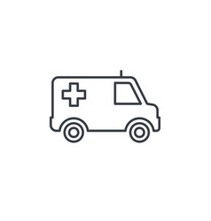 ambulance medical car thin line icon linear vector image