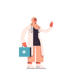 Arab female doctor in uniform holding first aid vector