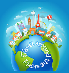 around world travelling concept with vector image