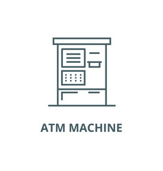 atm machine line icon atm machine outline vector image