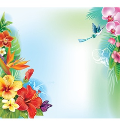 Background from tropical flowers and leaves vector