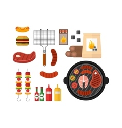 BBQ barbecue icons vector