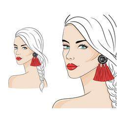 beautiful woman wearing stylish jewelry vector image