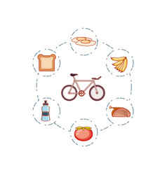 bicycle vehicle with set icons vector image