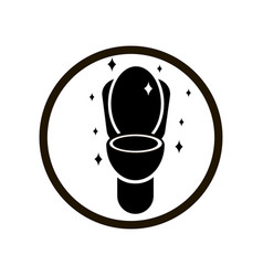 Black hygiene toilet sign in circle on white vector