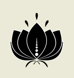 black lotus silhouette with white contour and vector image