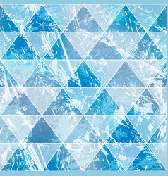 blue triangles with grunge stone effect seamless vector image