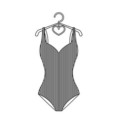 Blue women stripe swimsuit clothes for swimming vector