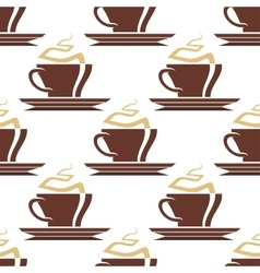 Brown cups of hot coffee seamless pattern vector