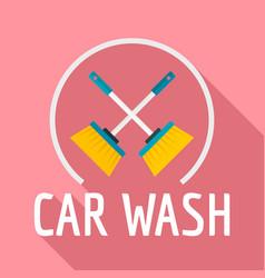 brush car wash logo flat style vector image