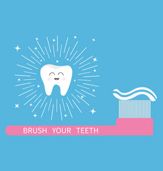 brush your teeth tooth icon big toothbrush with vector image