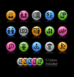 business financial icons - gelcolor series vector image