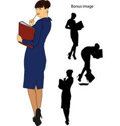 Business girl with a folder vector