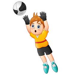 cartoon boy goalkeeper catching a soccer ball vector image
