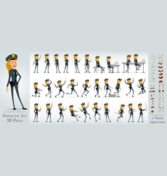 Cartoon flat sheriff girl character big set vector