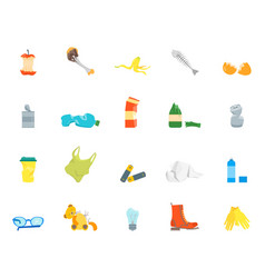 Cartoon trash and garbage color icons set vector