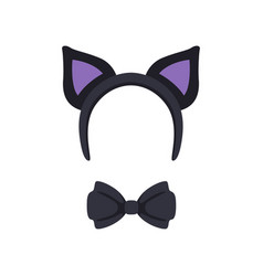 cat ears and bow tie masquerade decor carnival vector image
