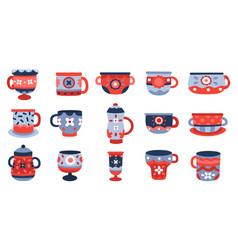 Ceramic cups kitchen porcelain cup crockery vector