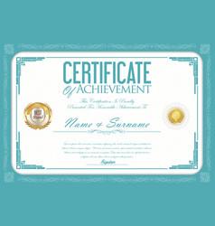 Certificate or diploma retro design template 8 vector