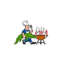 Chef Alligator Spatula BBQ Grill Cartoon vector