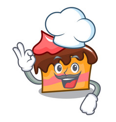 Chef sponge cake character cartoon vector