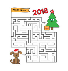 Christmas cartoon dog maze game vector