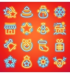 christmas neon icons vector image