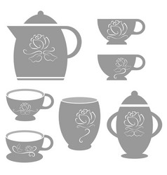 coffee cup set with white rose line vector image